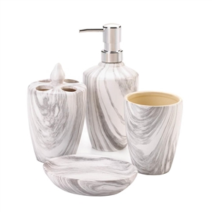 4-Pc Porcelain Marble Design Bath Accessory Set