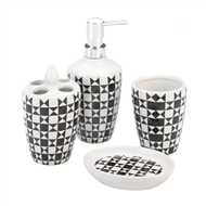 4-Pc Porcelain Geo Pattern Black & White Bath Accessory Set
