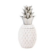Silver Topped White Pineapple Jar Decor