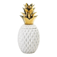 Gold Topped White Pineapple Jar Decor