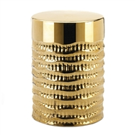 Gold Textured Barrel Stool Accent Table