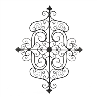 Square Fleur-De-Lis Scrollwork Wall Decor Plaque