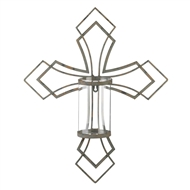 Contemporary Cross Pillar Candle Wall Sconce