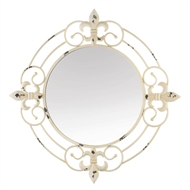 Antique White Fleur-De-Lis Round Wall Mirror