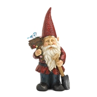 Birdie on Welcome Sign Standing Gnome Solar Statue