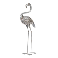 Silver And Pink Standing Tall Flamingo Statue