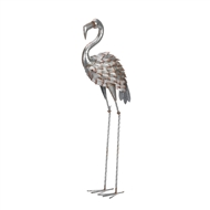 Silver And Pink Textured Feathers Flamingo Statue