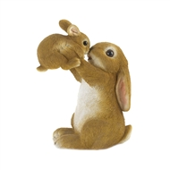 Mother Rabbit Baby Bunny Figurine Decor