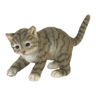 Cute Playing Gray Cat Figurine Decor
