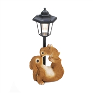 Playful Mother Rabbit and Baby Bunny Solar Lamp