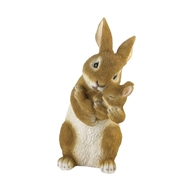 Mother Rabbit Cuddling Baby Bunny Figurine Decor