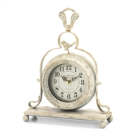 Antique White Whimsical Bird Desk Clock