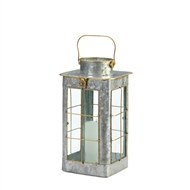 Small Farmhouse Galvanized Candle Lantern