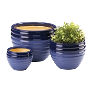 Duo Blue Ceramic 3PC Planter Pot Set
