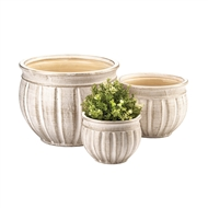 Antique Stone-Finish Ceramic 3PC Planter Pot Set