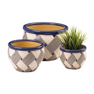 Geo Print Ceramic 3PC Planter Pot Set