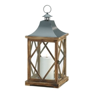 Large Wooden Diamond Lattice Candle Lantern