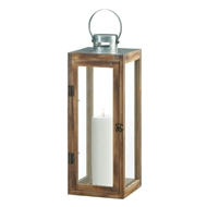 Large Metal Top Square Wood Candle Lantern