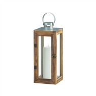 Metal Top Square Wood Candle Lantern