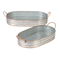 Oblong Galvanized Handled Serving Trays Set of 2
