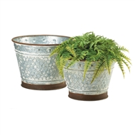 Round Galvanized Metal Planter Pot Set
