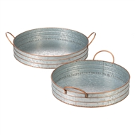 Round Galvanized Handled Serving Trays Set of 2