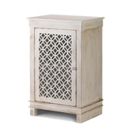 Geometric Cutwork Distressed White Wood Cabinet