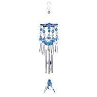 "Blue Hummingbird Wind Chime 13"" Long"