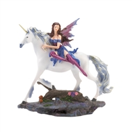 Fairy Riding Silver Hair Unicorn Figurine