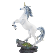 Silver Hair Unicorn on Rock Figurine