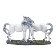 Silver Hair Unicorn Duo Figurine