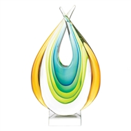 Green Gold Blue Dual Tip Art Glass Statue