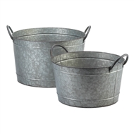Galvanized Bucket Metal Planters Set of 2