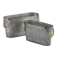 Oblong Galvanized Buckets Rope Handles Set of 2
