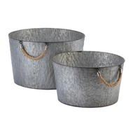 Round Galvanized Buckets Rope Handles Set of 2
