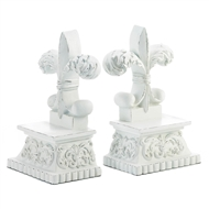Fleur-De-Lis Distressed White Bookends