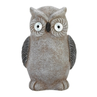 Distressed Grey Owl Solar Statue