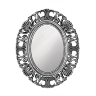 Silver Scallop Wood Oval Wall Mirror