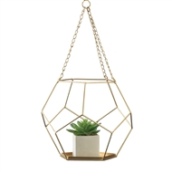 Golden Hanging Geometric Plant Holder