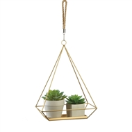 Golden Hanging Rectangular Plant Holder