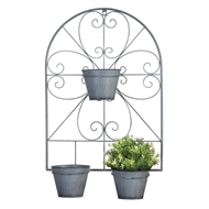 Scrollwork Trellis With Flower Pots