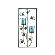 Peacock Feather Two Candle Wall Sconce