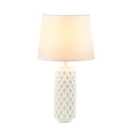 White Honeycomb Cylinder Base Table Lamp