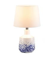 White And Blue Splash Round Base Table Lamp