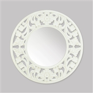 Carved White Round Wall Mirror