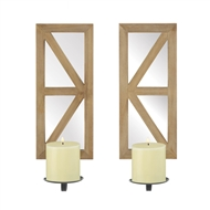 Mirrored Rectangular Wood Candle Wall Sconce Set of 2