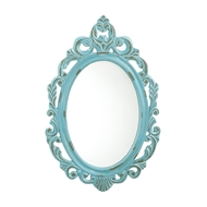 Distressed Baby Blue Wood Oval Mirror