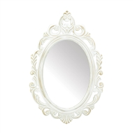 Antique White Wood Oval Mirror