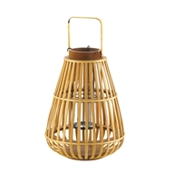 Large Slat Wood Candle Lantern