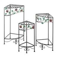 Wrought Iron Country Apple Plant Stand Set